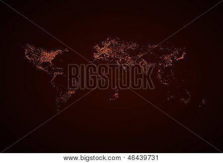Night World map EPS10 vector, easy all editable