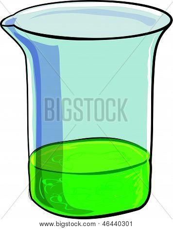 Beaker of evil green sludge. Isolated on white