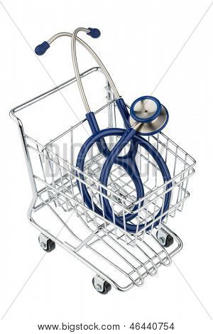 stethoscope and cart, symbol photo for the medical profession and practice acquisition