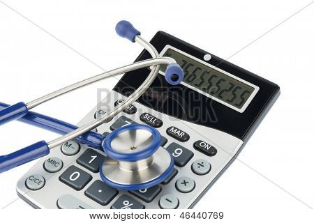 stethoscope and calculator, photo icon for billing and medical expenses
