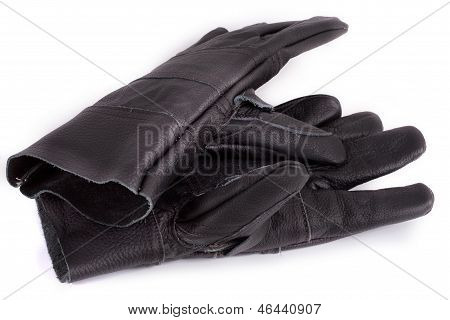 Black Work Gloves On White Background