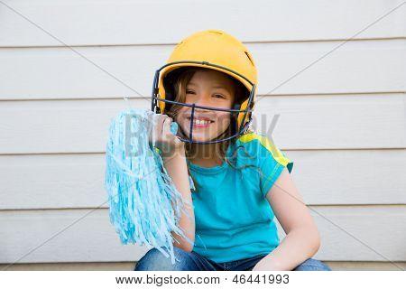 baseball cheerleading pom poms girl happy smiling with yellow helmet