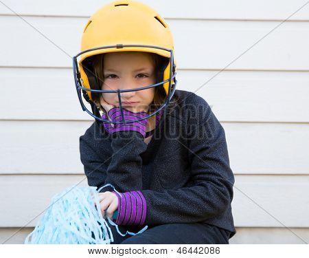 children cheerleading pom poms girl sad relaxed yellow baseball helmet