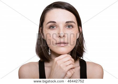 beautiful girl looking pleads white background