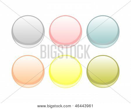 Vector web buttons collection. Blank, glowing, colorful circular button set.