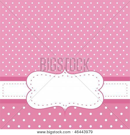 Pink vector invitation card for baby shower, wedding or birthday party with white polk dots