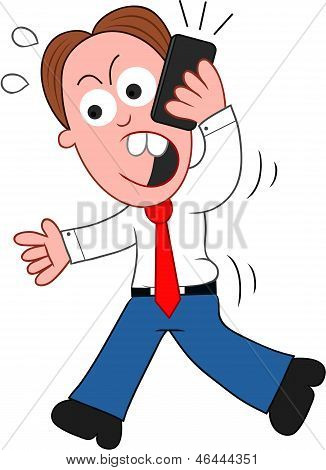 Cartoon Businessman Walking And Angry On Phone