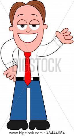 Cartoon Businessman Showing.