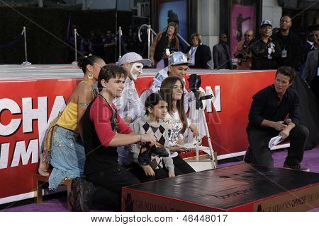 LOS ANGELES - JAN 26: Prince Jackson, Blanket Jackson, Paris Jackson at the hand and footprint ceremony for Michael Jackson at Grauman's Chinese Theater on January 26, 2012 in Los Angeles, California