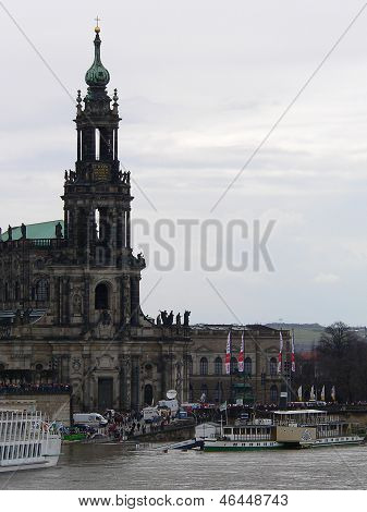 Dresden Cathedral And High Water, Dresden, Germany