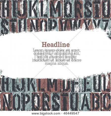 letterpress seamless background with grunge stripe for text. Vector