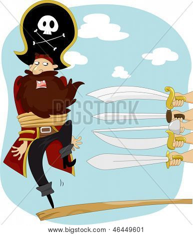 Illustration of Swords Pointing on Male Pirate Walking the Plank for Execution
