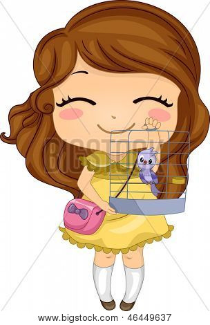 Illustration of Little Girl with her Pet Bird in a Birdcage