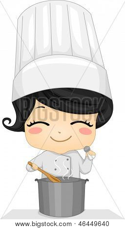 Illustration of a Cute Little Chef Girl Cooking