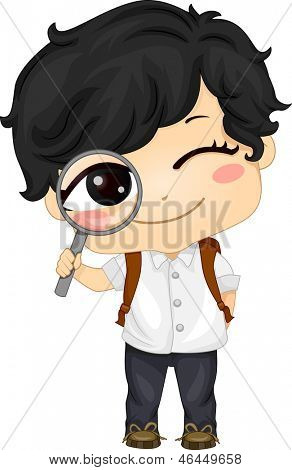 Illustration of a Cute Asian Boy holding a Magnifying Glass