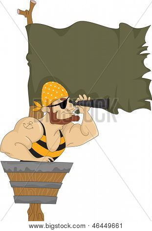 Illustration of Male Pirate in Crow's Nest with Blank Flag