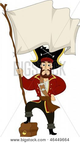 Illustration of a Male Pirate stepping on a Treasure Chest while holding a Blank Pirate Flag