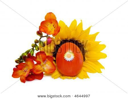 Easter Red Decorated Egg With Sunflower And Freesia