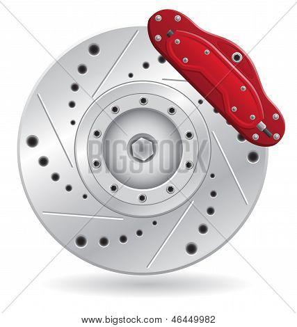 Car Brake Caliper Vector Illustration