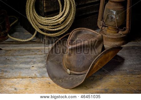 a cowboy hat on the floor