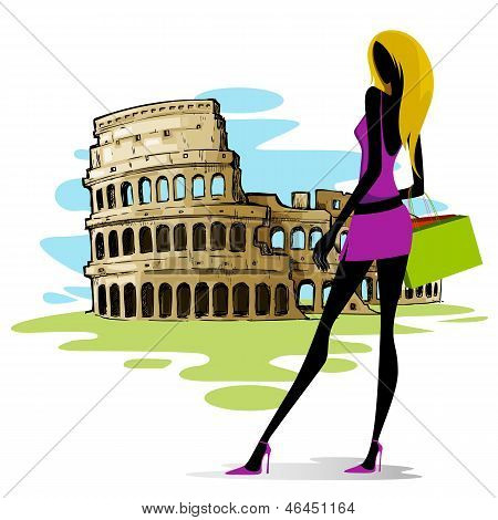 Woman near Colosseum in Rome