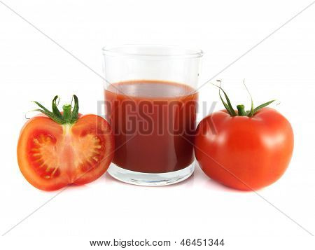 Red Ripe Tomato, Slice With Glass Of Tomato Juice
