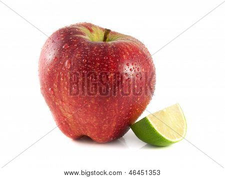 Isolated Red Apple With Sliced Lime On White