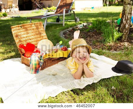 Young boy on picnicking