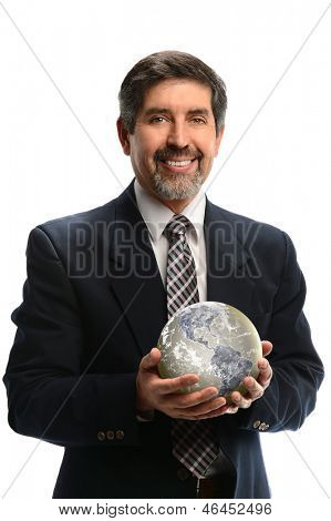Portrait of Hispanic businessman holding earth isolated over white background