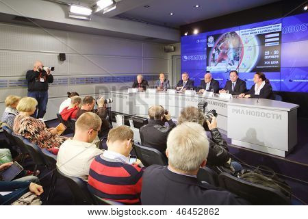 MOSCOW - AUGUST 15: Press conference before international basketball tournament cup name Gomelsky in press center of RIA Novosti, on August 15, 2012 in Moscow, Russia.