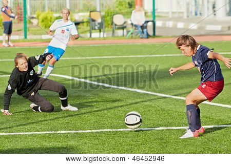 MOSCOW - AUG 23: Attack of goal box during match between female teams CSP Izmailovo (Moscow) and Mordovochka (Saransk) at stadium of CSP Izmailovo, August 23, 2012, Moscow, Russia.
