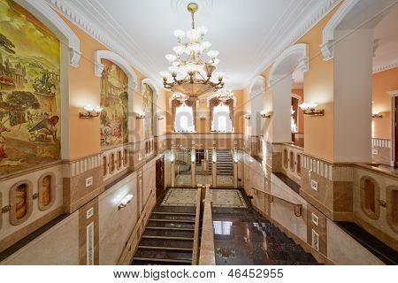 MOSCOW - AUG 3: Inner stairways and halls of Central House of culture of railwaymen, August 3, 2012, Moscow, Russia. Building was built in 1927 as part of architectural ensemble of Kazan Station.