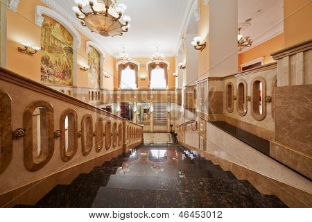 MOSCOW - AUG 3: Inner stairways in Central House of culture of railwaymen, August 3, 2012, Moscow, Russia. Building was built in 1927 as part of architectural ensemble of Kazan Station.