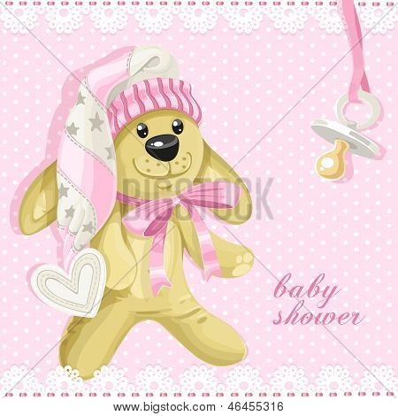 Baby Shower Card With Pink Soft Toy Rabbit And Baby's Dummy