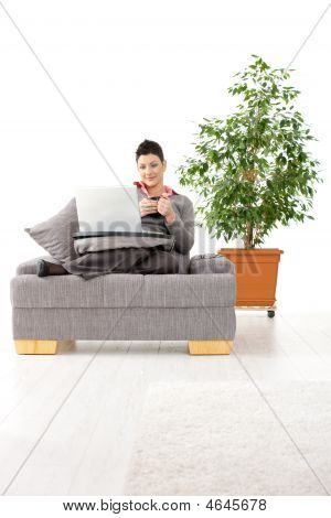 Woman Teleworking At Home