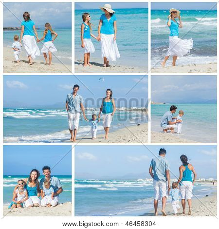 Family on tropical beach