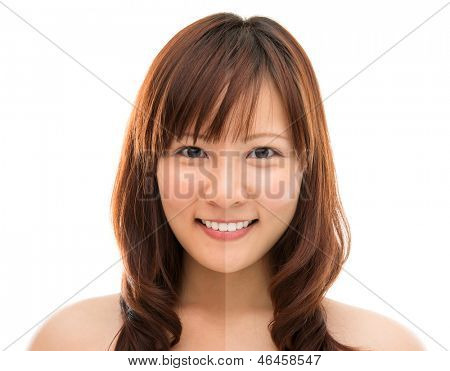 Asian woman face with half tan skin (before and after) isolated on white background. Beautiful Asian girl model.