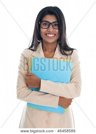Indian businesswoman holding office file folder. Portrait of beautiful Asian female model standing isolated on white background.