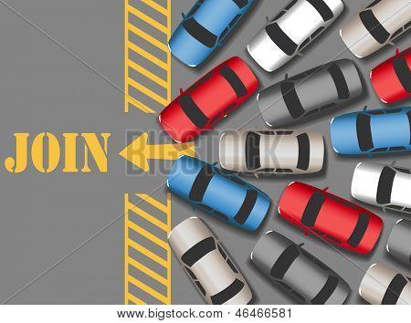 Carros de visitantes multidão site ocupado de junção ou negócios