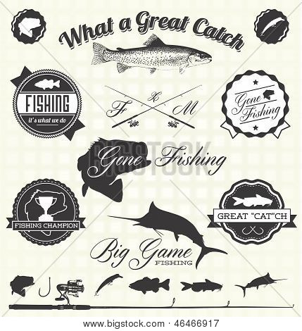 Vector Set: Retro Gone Fishing Labels