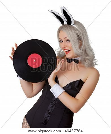 Playful Blonde In A Bunny Suit With A Vinyl Record