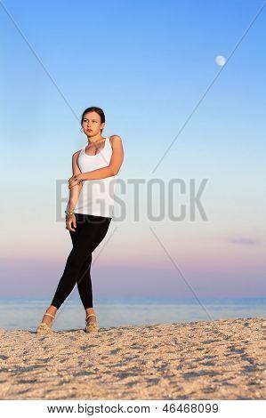 Pretty Woman On The Beach