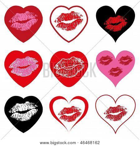 Vector Heart Symbols Set With Kiss