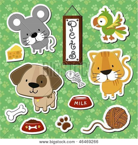 cute pets stickers scrapbook