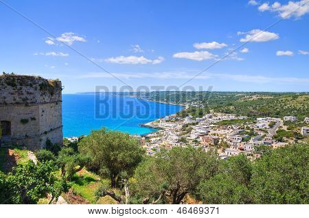 Panoramic view of Castro. Puglia. Southern Italy.