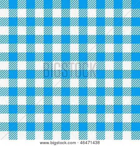 Blue White Plaid Tablecloth