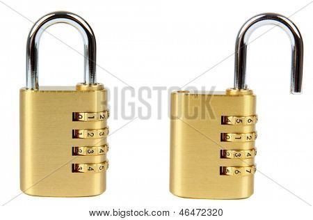 padlock with combination lock, in two position, locked and unlocked. Isolated on white background.
