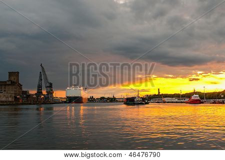 Sunset In Port