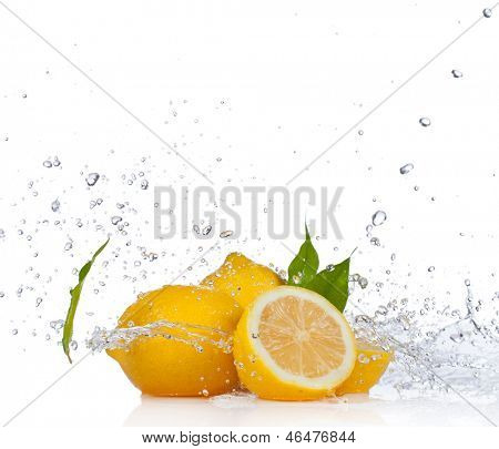 Fresh lemon with water splash, isolated on white background