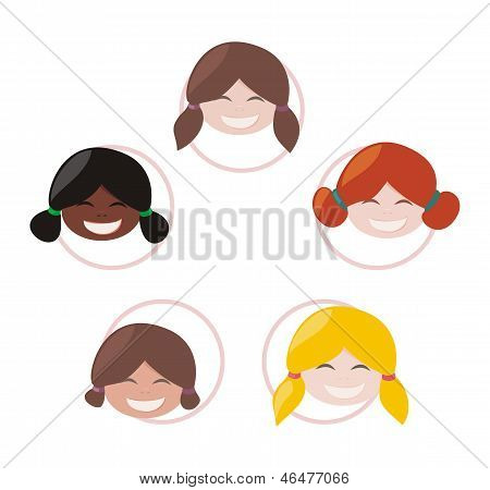 Happy multicultural school girls group with different skin and hair color - vector illustration